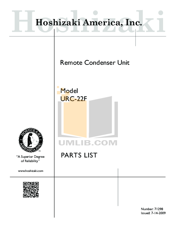 pdf for Hoshizaki Other URC-9F Condensing Unit manual
