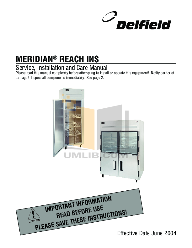 pdf for Delfield Other Meridian MHRI1S Heated Cabinet manual