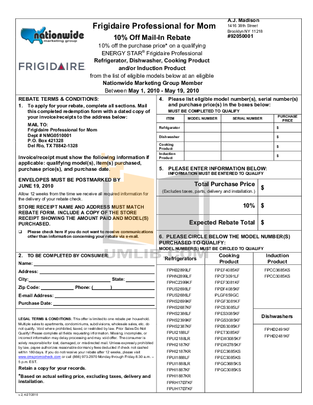 pdf for Frigidaire Refrigerator Professional FPHS2699KF manual