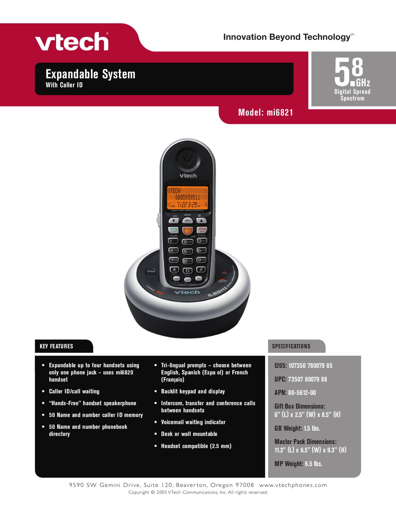 pdf for Vtech Telephone mi6821 manual