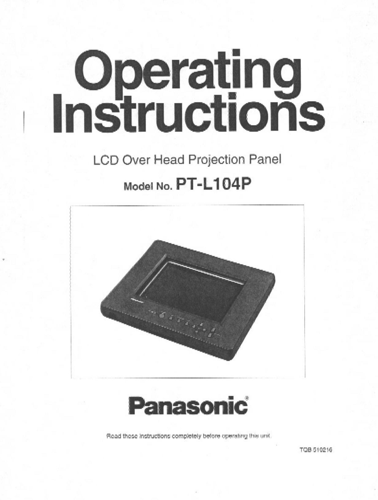 pdf for Panasonic Projector PT-L104P manual