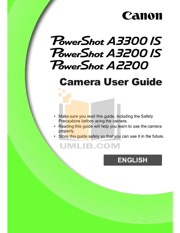 pdf for Canon Digital Camera Powershot A2200 IS manual