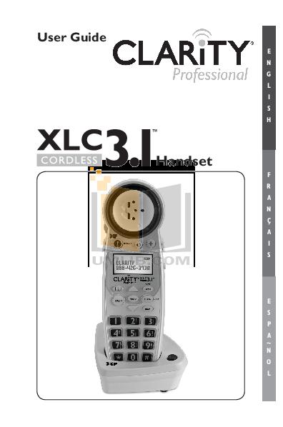 pdf for Clarity Telephone XLC3.4 manual