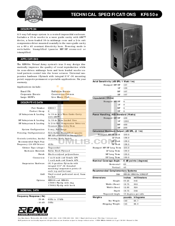 pdf for Eaw Speaker System KF650e manual