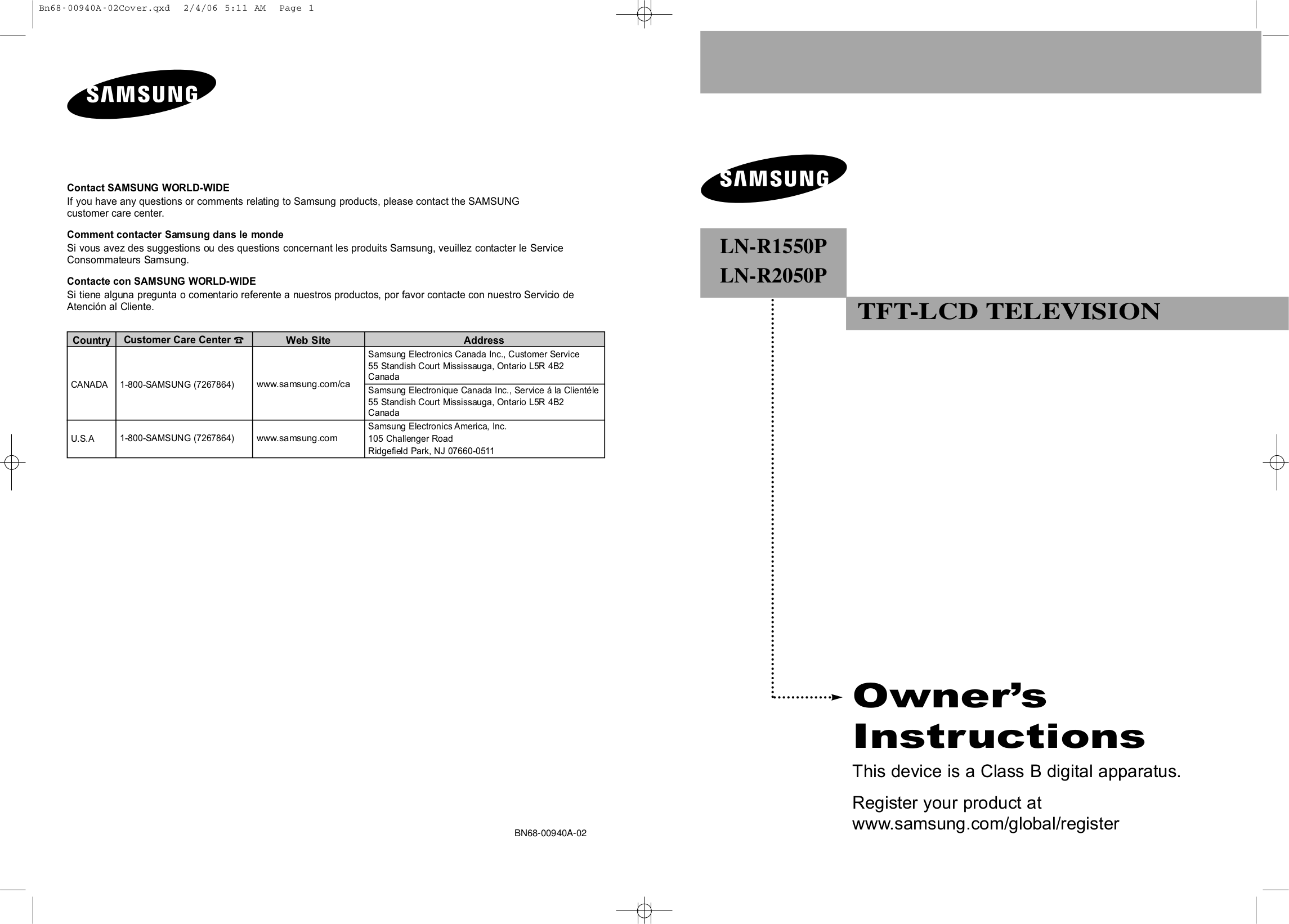 download free pdf for samsung lnr1550p tv manual