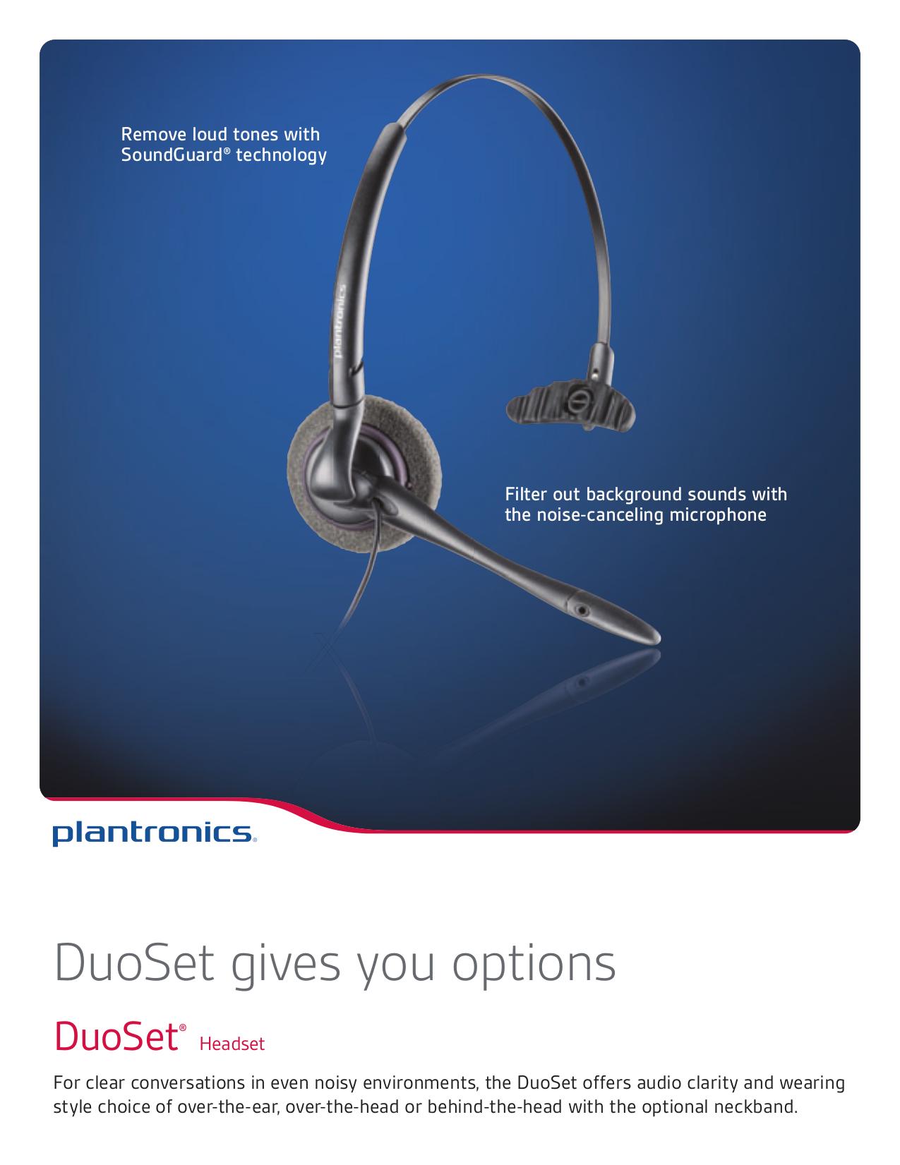 Download free pdf for Plantronics DuoSet H141N Headset manual