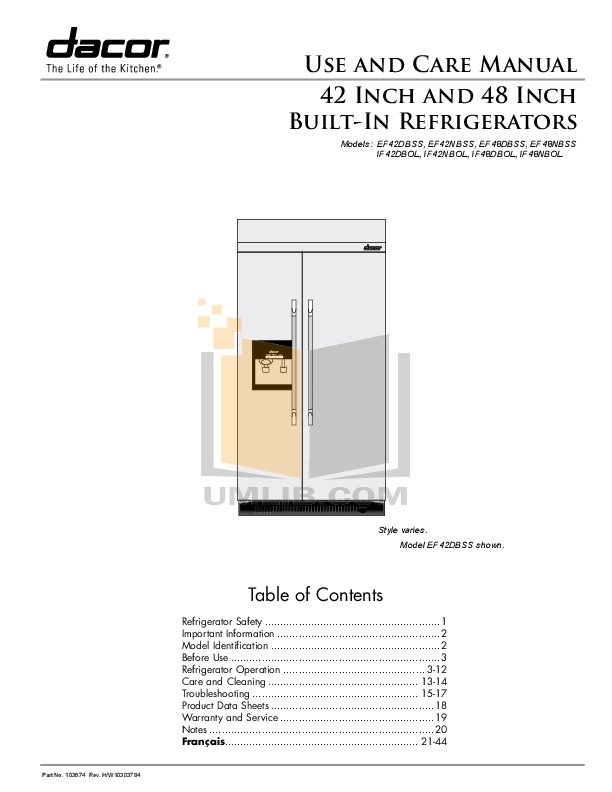 pdf for Dacor Refrigerator Integrated IF42NBOL manual