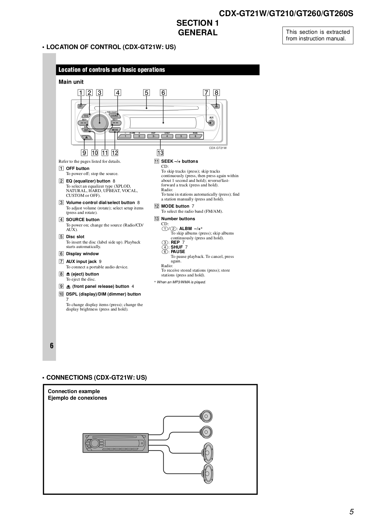 Sony Car Receiver CDX-GT210 pdf page preview