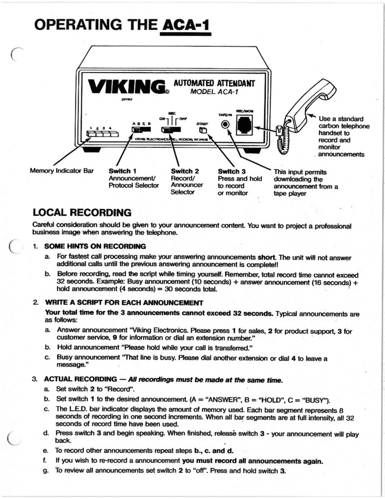 Viking Other ACA-1A Call Attendants pdf page preview