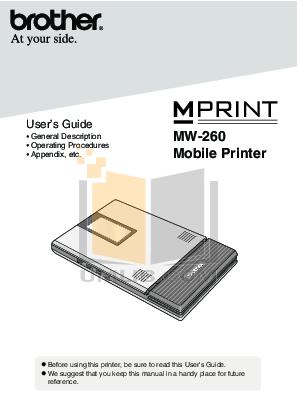 pdf for Brother Printer MW-100 manual