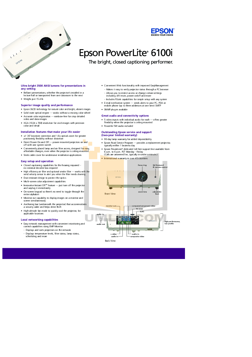 pdf for Epson Projector PowerLite 6100i manual