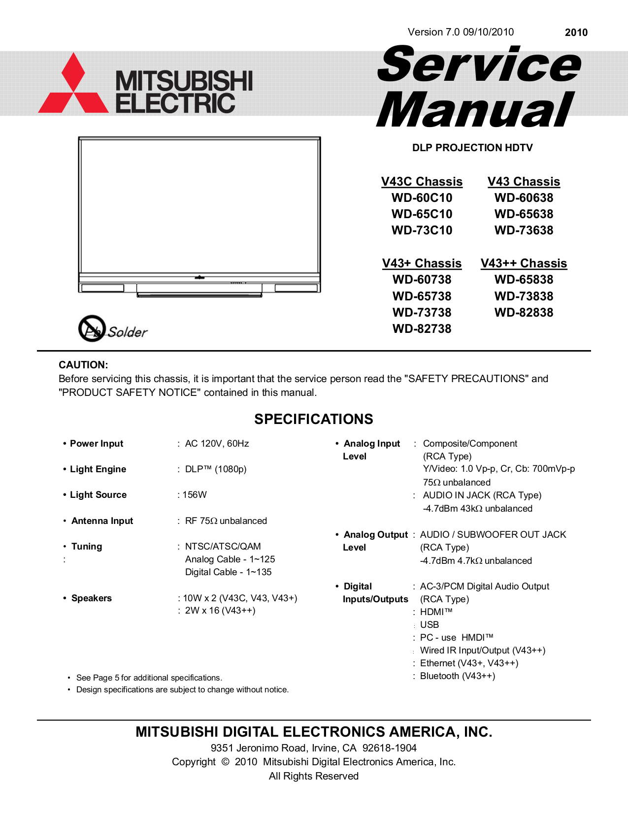 pdf for Mitsubishi TV WD-73838 manual