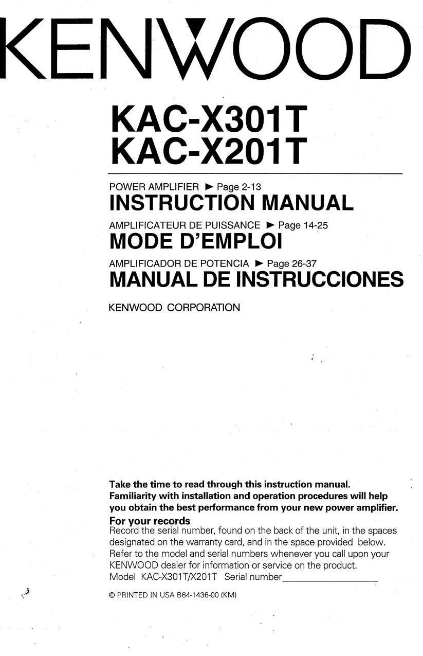 Kenwood Amp Excelon Kac X301t Wiring Diagram Amplifier Download Free Pdf For Kacx301t Car Manual