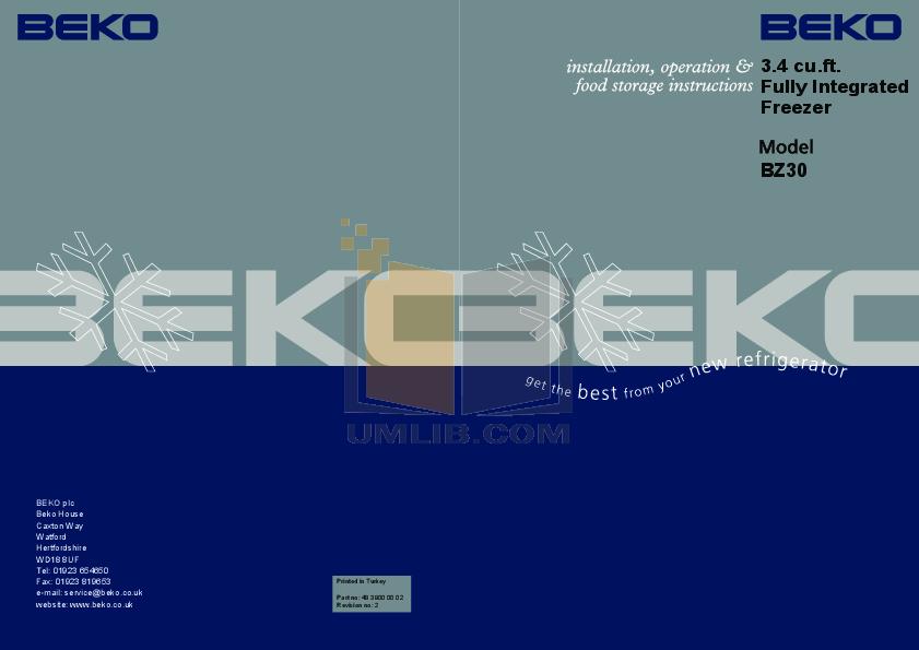 pdf for Beko Freezer BZ30 manual