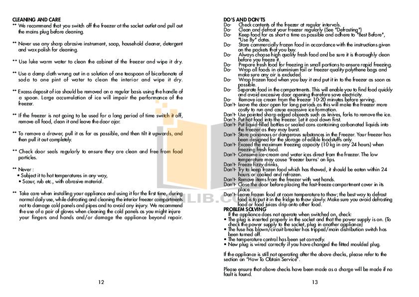 Beko Freezer BZ30 pdf page preview