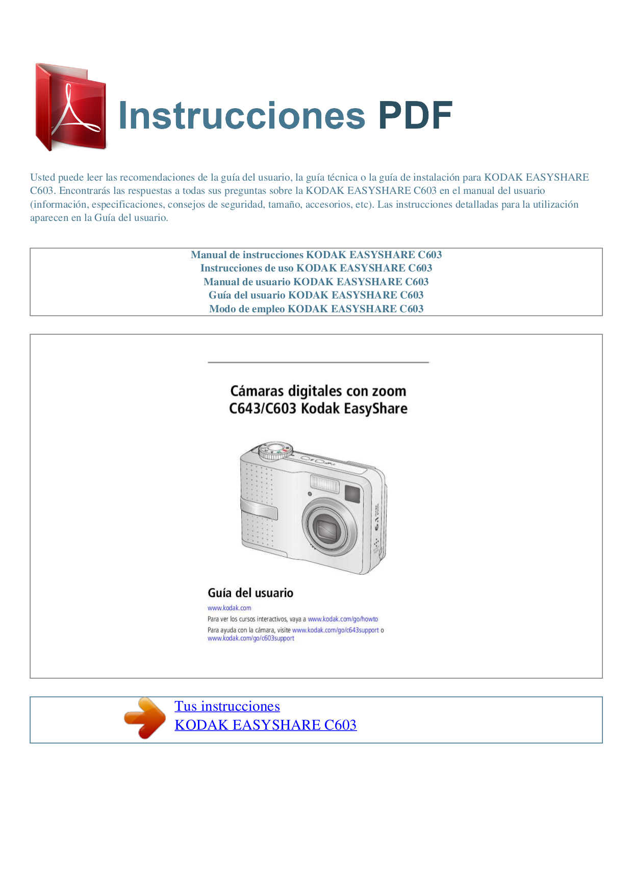 Kodak Digital Camera EasyShare C603 pdf page preview