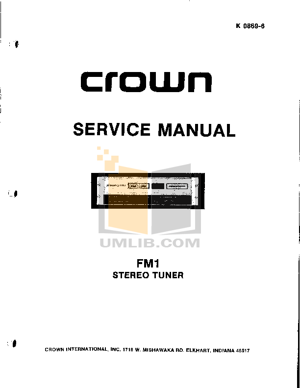 pdf for Crown Other FM-1 Stereo Tuners manual