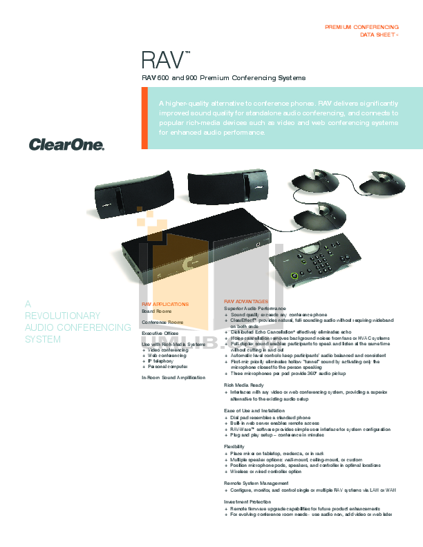 pdf for ClearOne Telephone RAV 600 manual