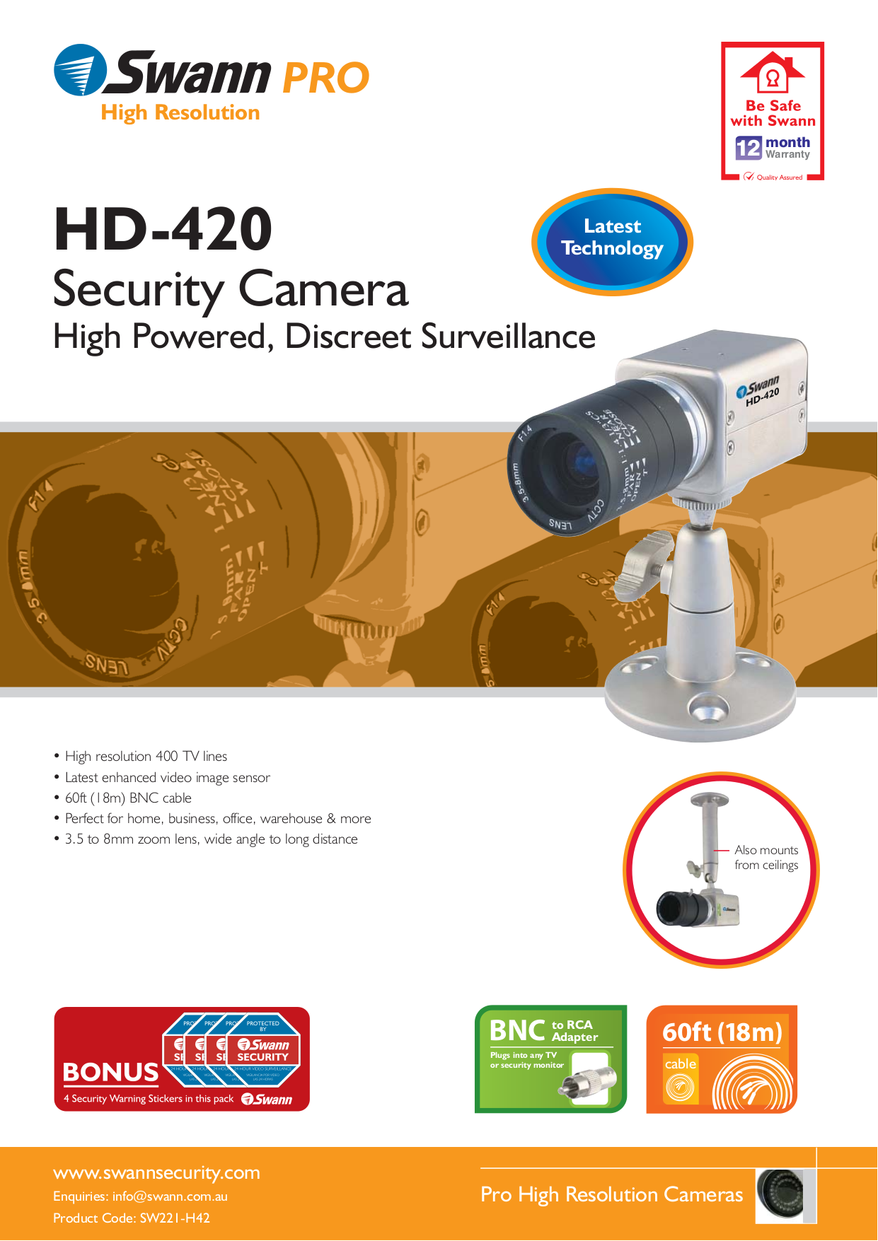 Download free pdf for Swann HD-420 Security Camera manual
