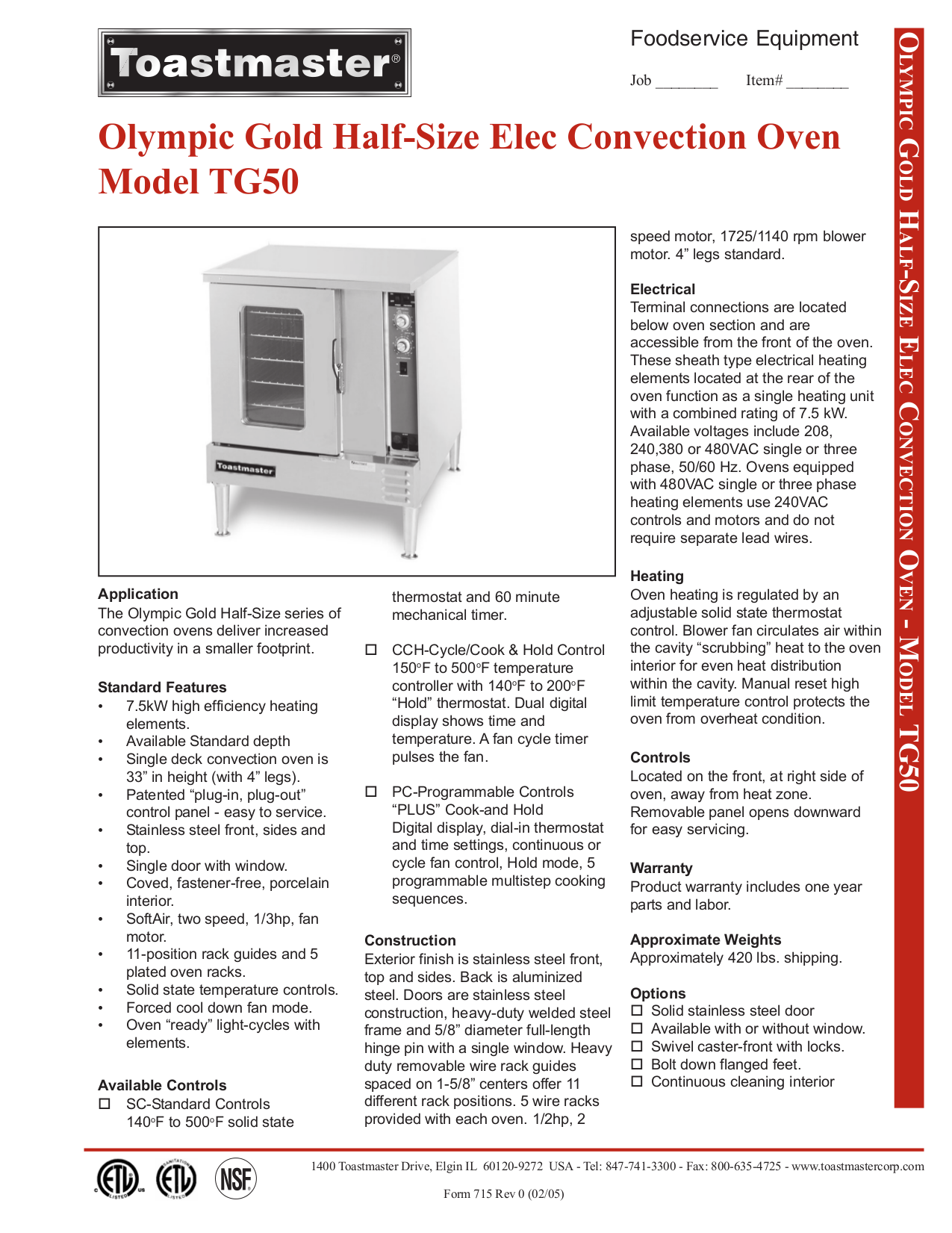 pdf for Toastmaster Oven TG50 manual