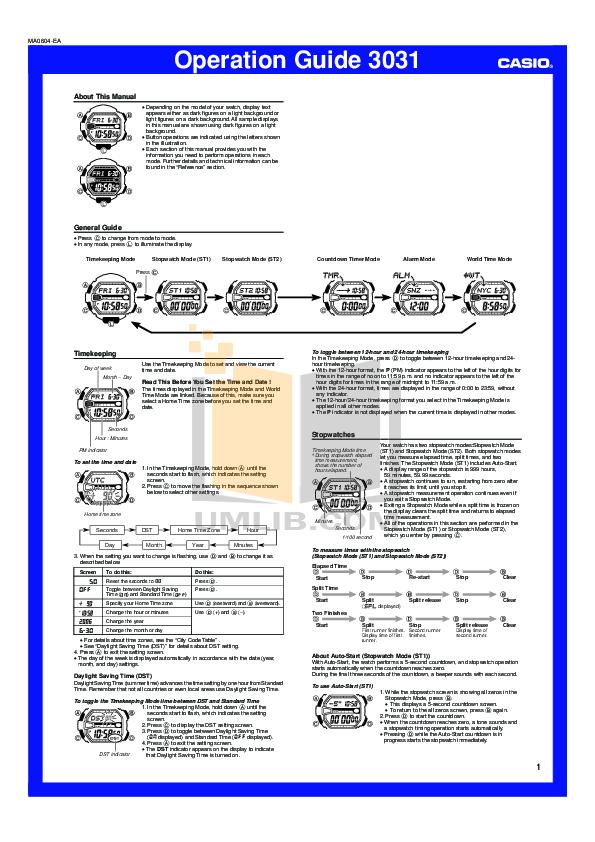 pdf manual for casio watch g shock g9000 1v rh umlib com Casio G-Shock DW-5600 Watch casio g shock mudman 3031 manual