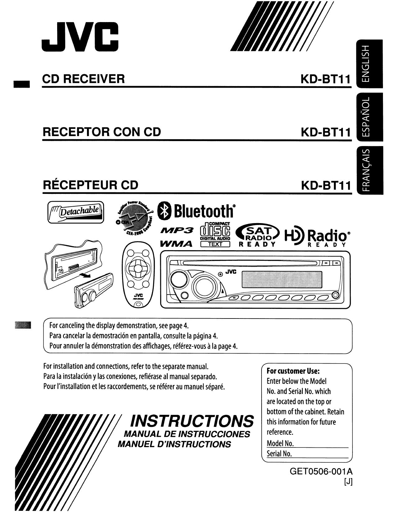 download free pdf for jvc kd bt11 car receiver manual rh umlib com jvc kd-bt11 installation manual JVC Car Radio Manual