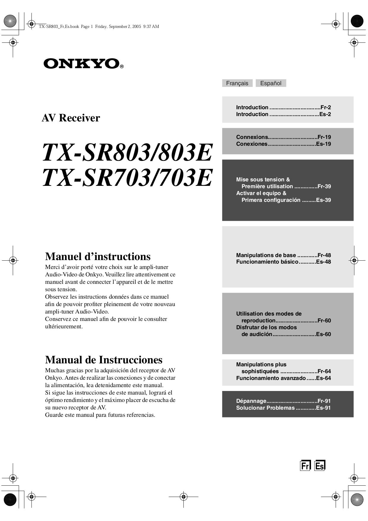 Download free pdf for onkyo tx sr703 receiver manual