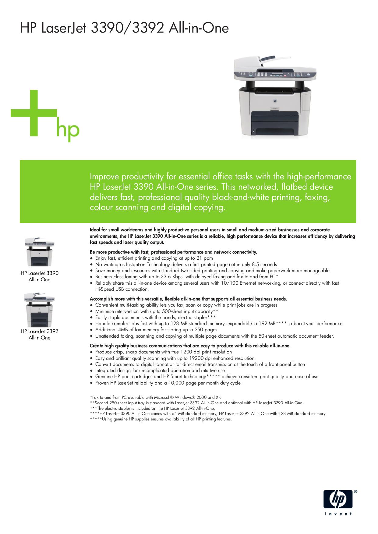 pdf for HP Multifunction Printer Laserjet,Color Laserjet 3392 manual