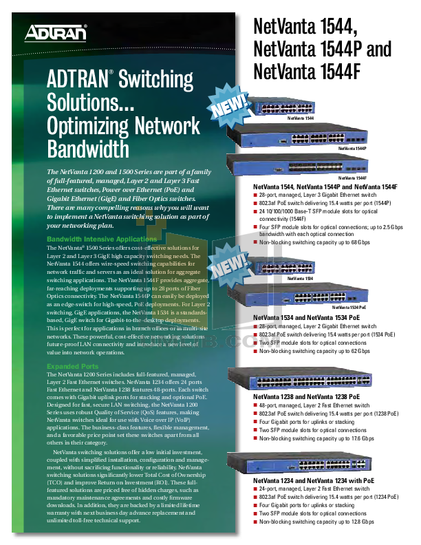 pdf for ADTRAN Switch NetVanta 1544 manual