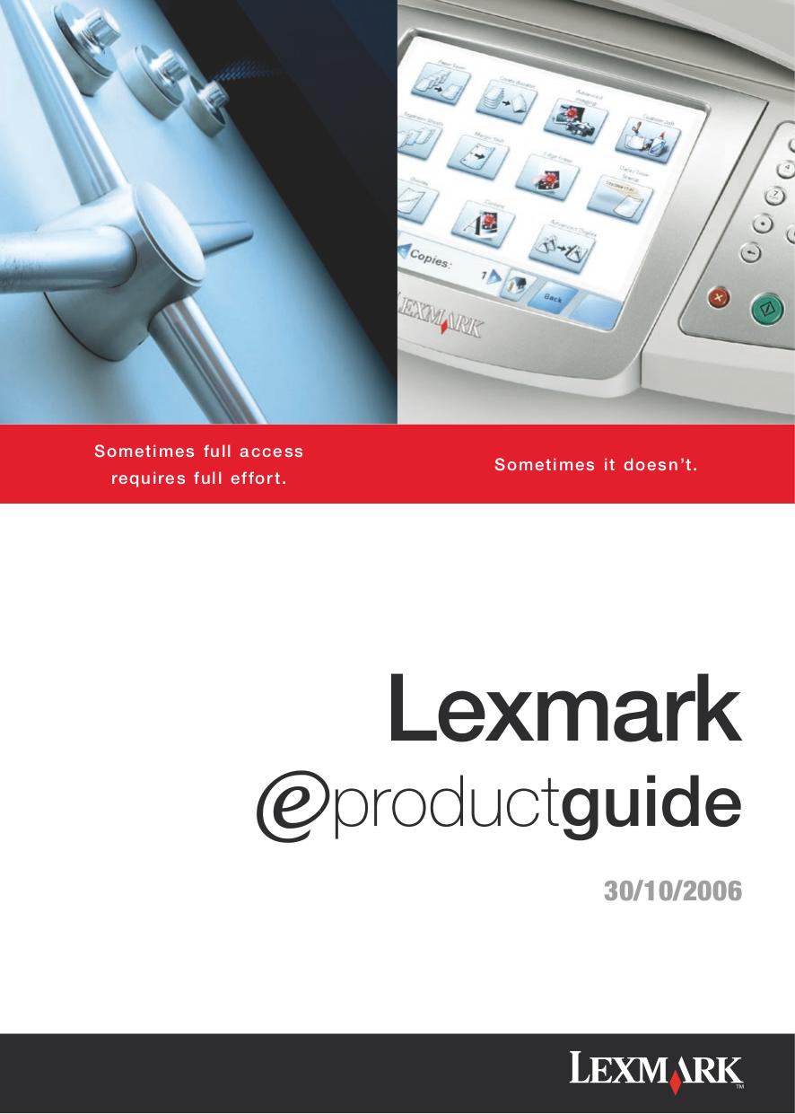 pdf for Lexmark Printer X1100 manual