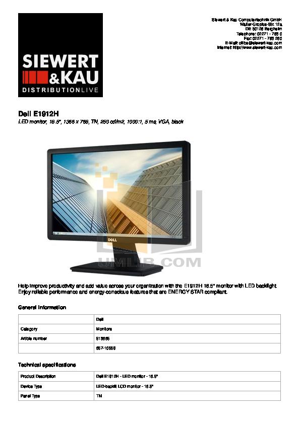 pdf for Dell Monitor E1912H manual