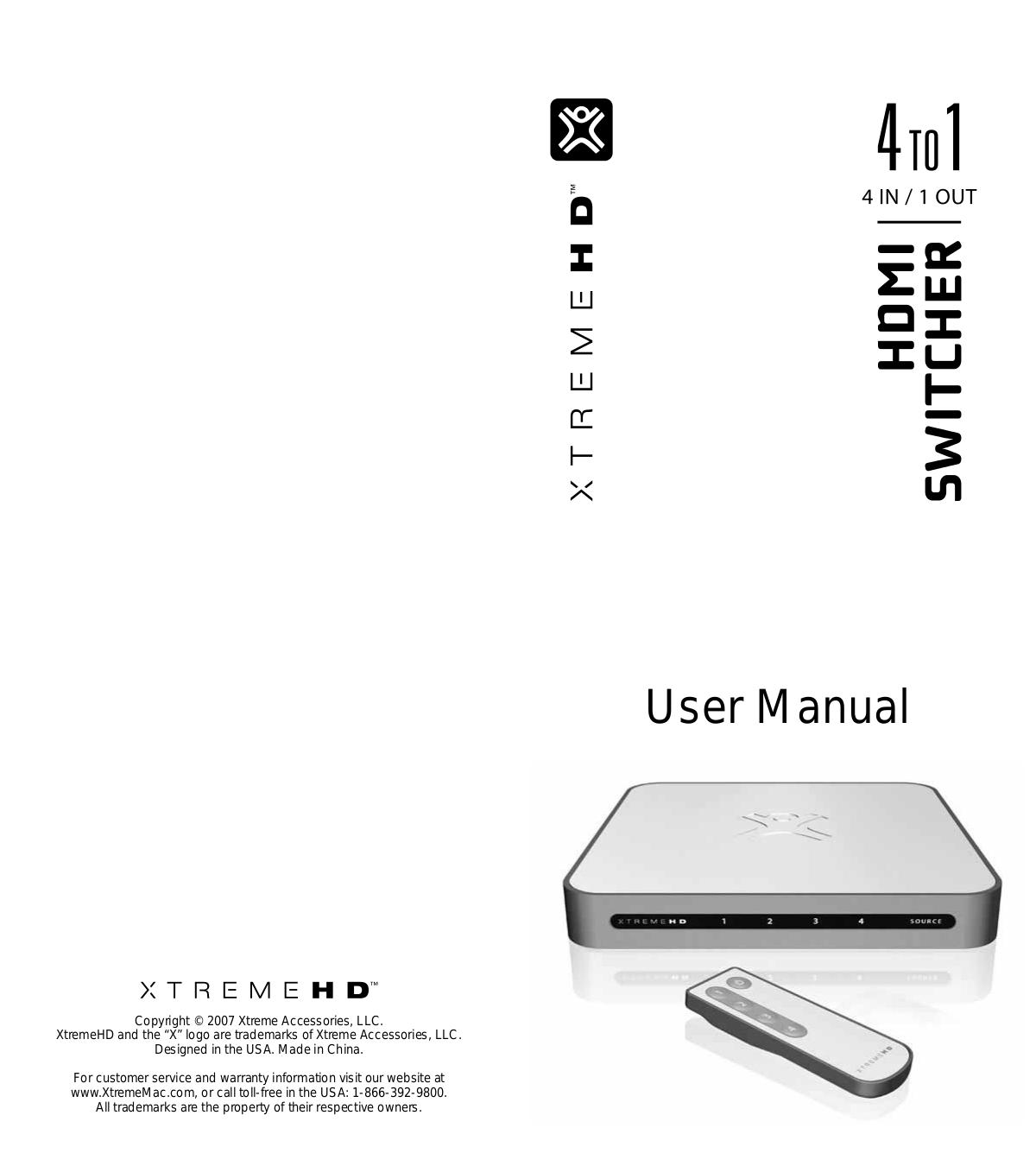 pdf for Xtrememac Switch XtremeHD manual
