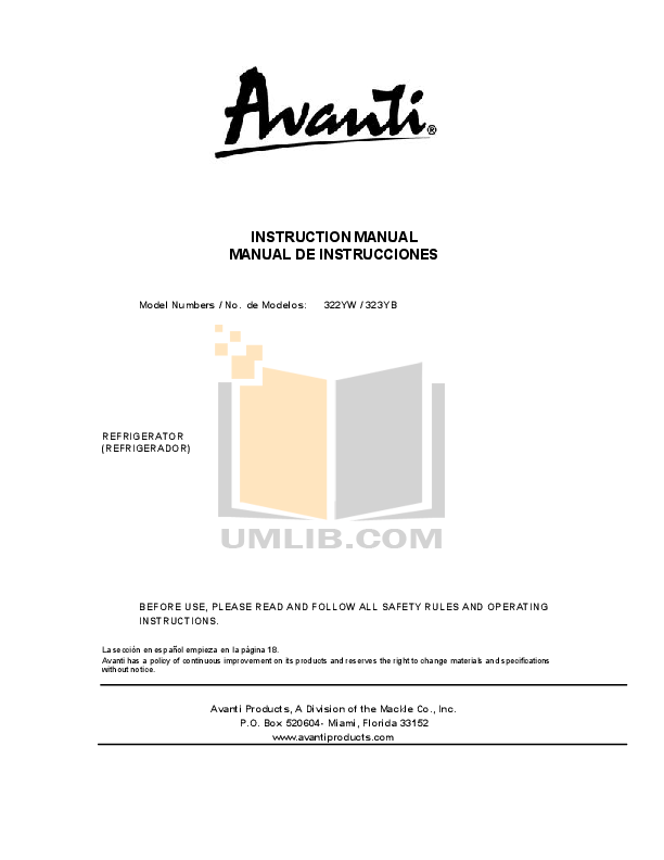 pdf for Avanti Refrigerator 322YW manual