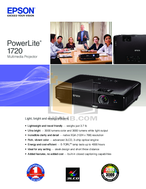pdf for Epson Projector PowerLite 1720 manual
