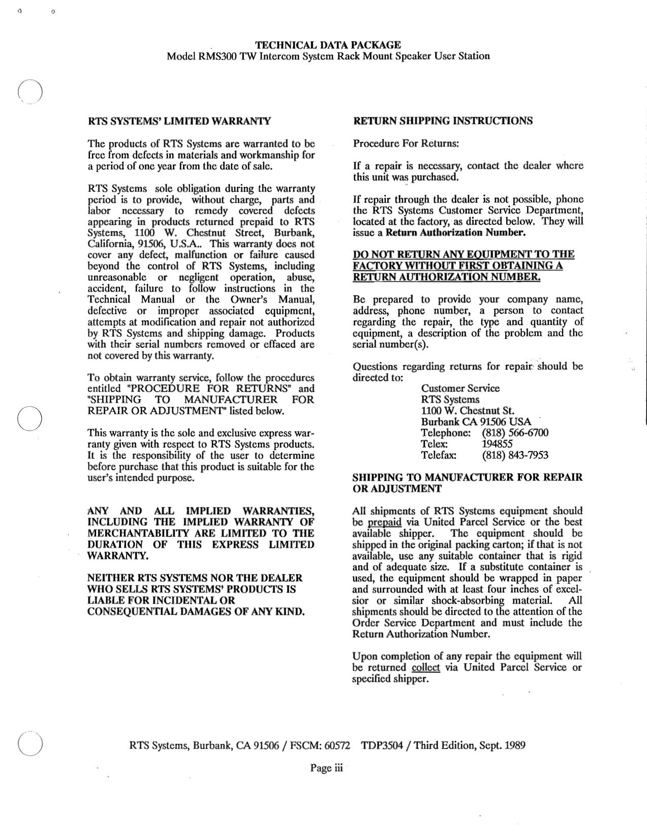 Telex Other SPK300L IntercomSystem pdf page preview