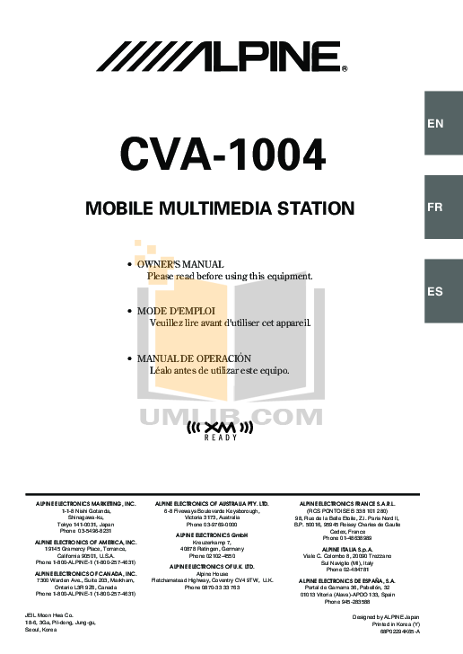 OM CVA 1004.pdf 0 wat download free pdf for alpine cva 1004 car video manual alpine cda-9833 wiring diagram at soozxer.org