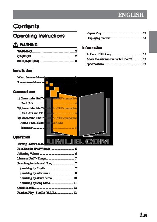 pdf for Alpine Car Video CVA-1004 manual