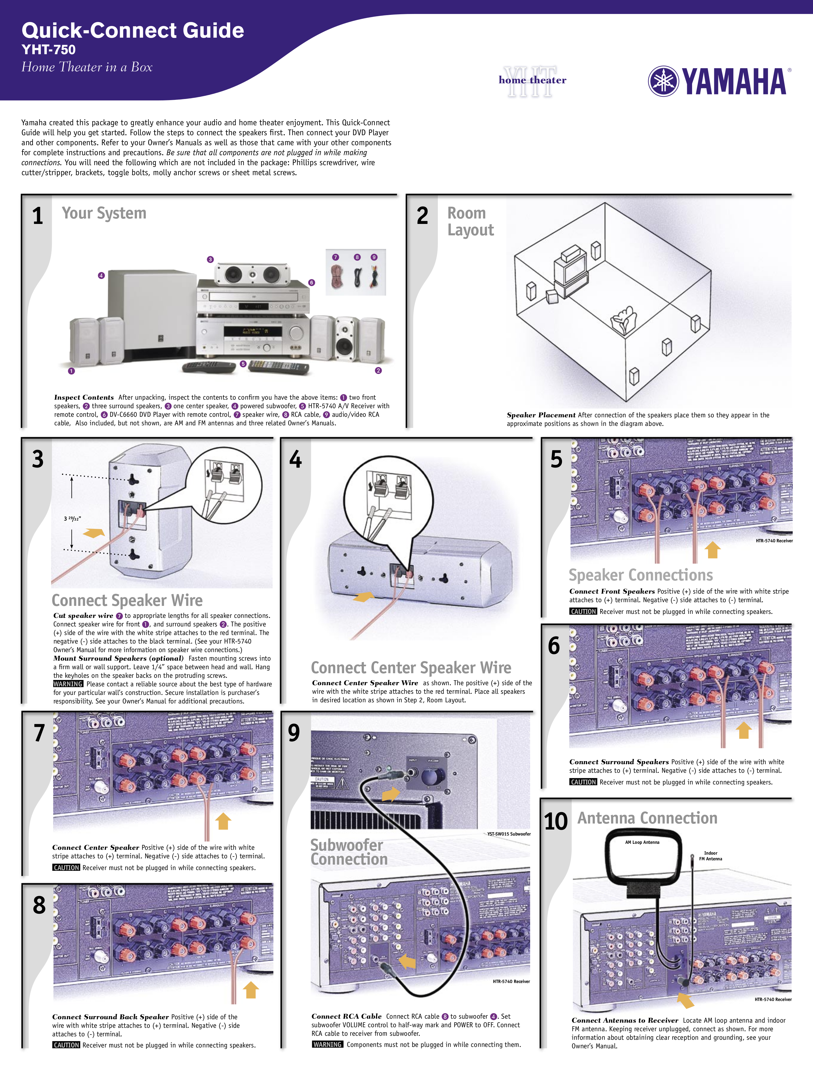 Download free pdf for Yamaha YHT-17 Home Theater manual on