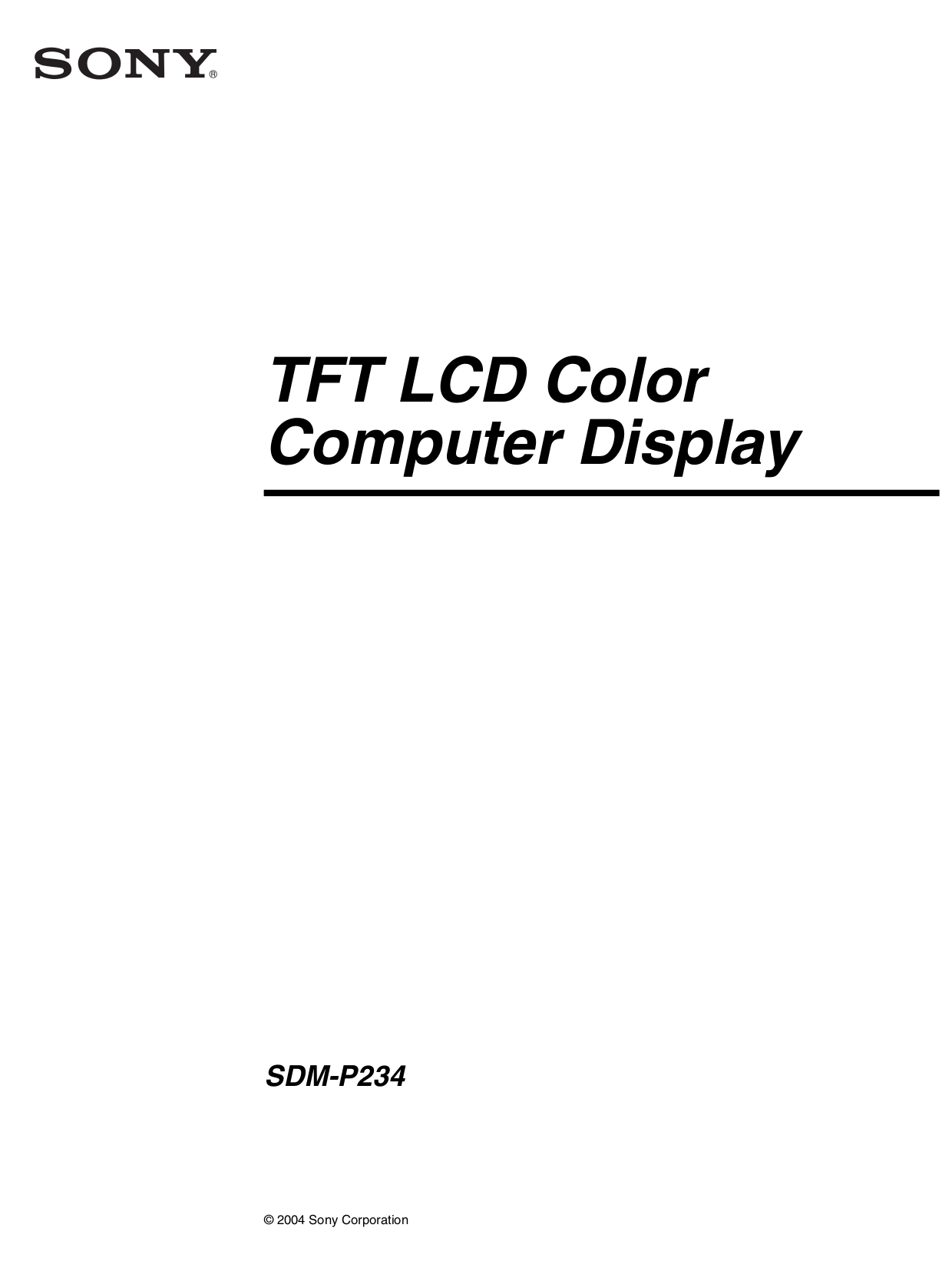 pdf for Sony Monitor SDM-P234 manual