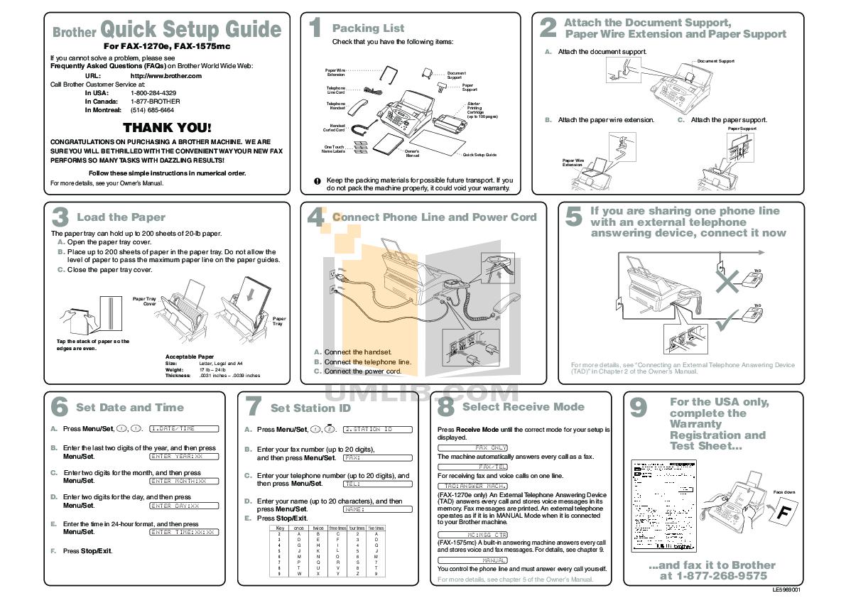 pdf for Brother Fax Machine IntelliFAX 1270E manual