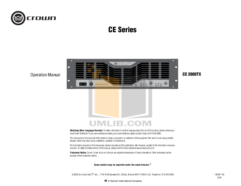 pdf for Crown Other SST-4622 Crossover Module manual