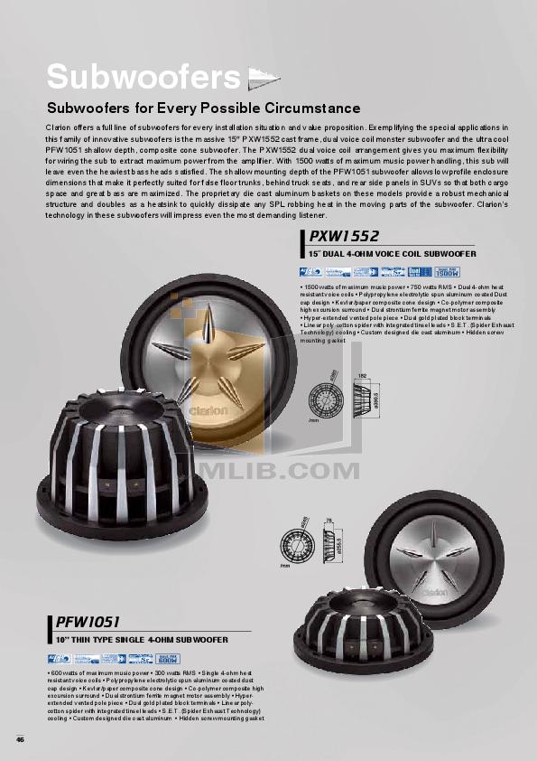 pdf for Clarion Speaker SRS1326 manual
