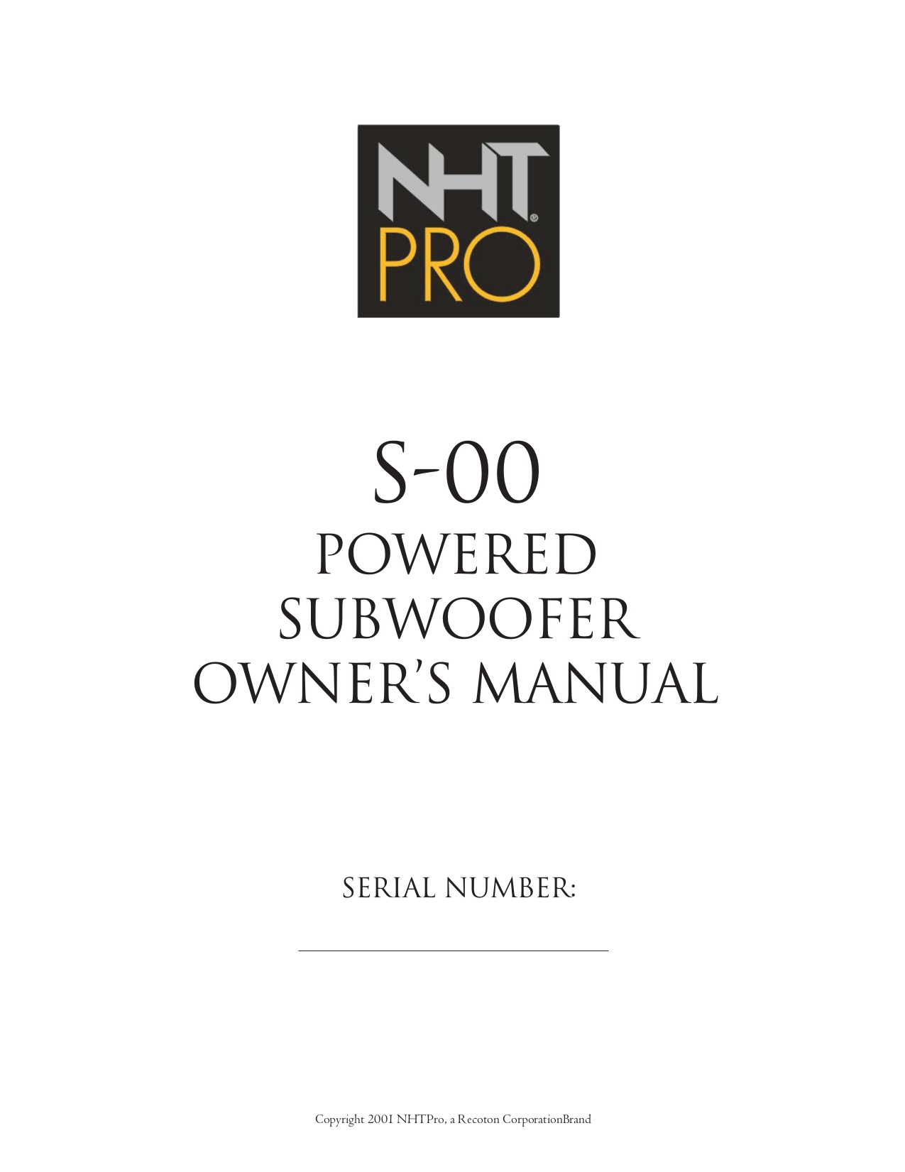 pdf for NHT Other M-60 Xd Monitor System manual