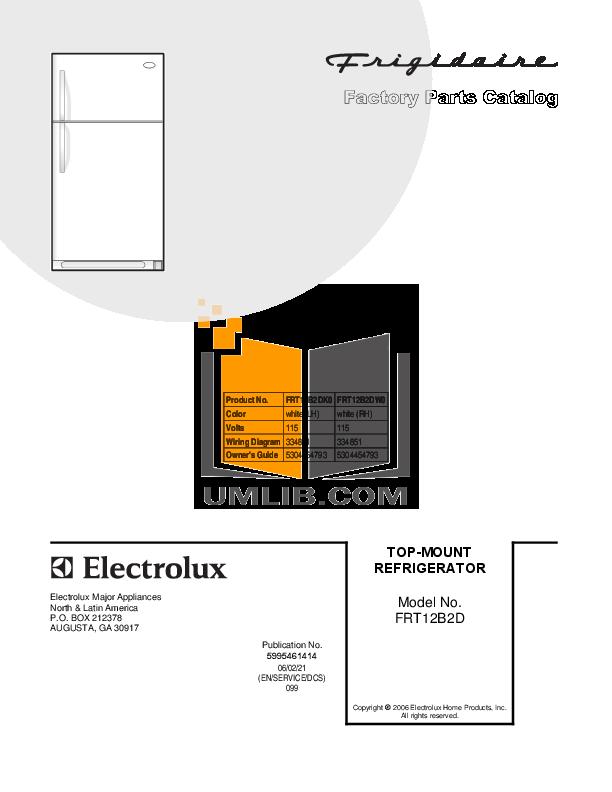 pdf for Frigidaire Refrigerator FRT12B2DW0 manual