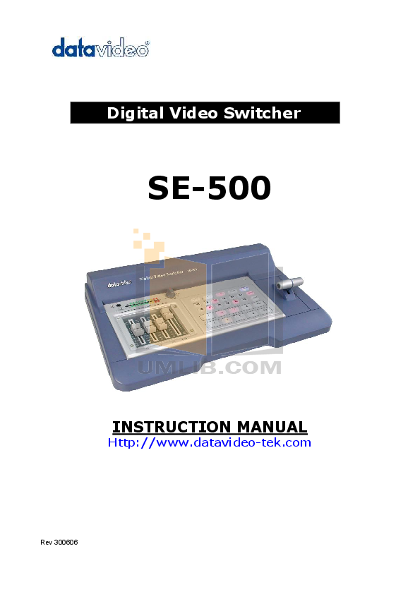 pdf for Datavideo Other SE-900 Switcher manual