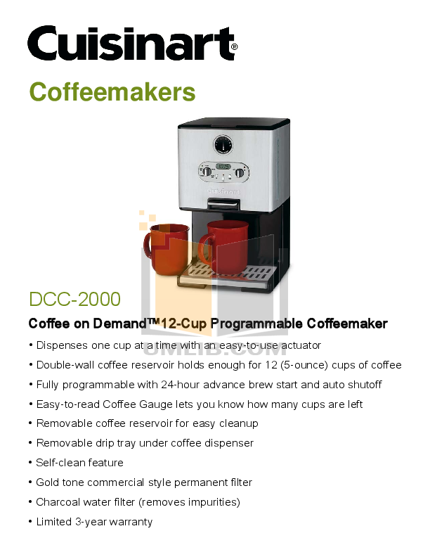 cuisinart coffee maker dcc 2000 manual