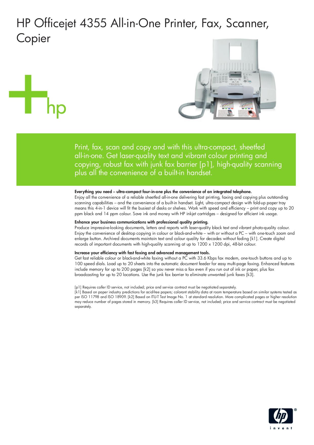pdf for HP Multifunction Printer Officejet 4355 manual