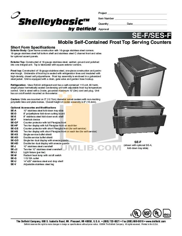 pdf for Delfield Refrigerator SE-F6 manual