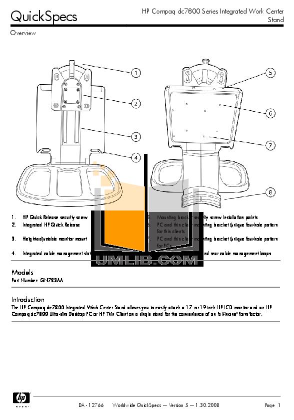 Download free pdf for HP Compaq dc7800 USDT Desktop manual