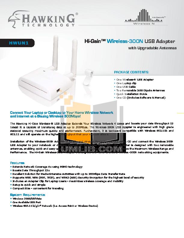 pdf for Hawking Other HWUN1 Wireless USB Adapter manual